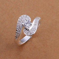 Free Shipping 925 Sterling Silver Ring Fashion Zircon Silver Jewelry Ring Women Finger Rings Wedding Gift Top Quality SMTR179