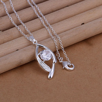 Free Shipping 925 Sterling Silver Jewelry Pendant Fine Fashion Cute Silver Plated Zircon Necklace Pendants Top Quality CP267