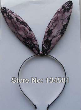 New  Hair  Accessories  Wholesale Headbands For Girls  Lace Rabbit Ear  Black Band  headbands0016