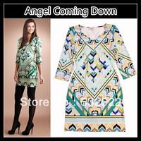 2013 Fall new Italian Designers EMILI ** UCCI Pope Geometric Print Knitted Half-Sleeve Elegant Jersey Dress J154