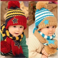5colors Free shipping winter five star children hats & scarf sets baby pocket beanie boy earflap girl skullcap retail Lc13082902