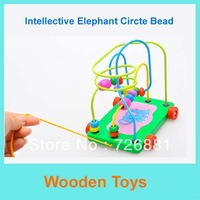 Holiday Sale Wooden Elephant Pattern Around the Pearl Toys/Circte Bead With Drag Design,Educational Wooden Toy Free Shipping