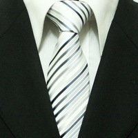 Discount Men`s Business White With Black Diagonal Striped Neckties For Men Formal Wedding Groom Ties Gravatas 8CM L8-1