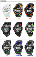 Rubber Band Student O.T.S Waterproof Digital Sport WR50M Electronic Watch for Children Kids Boys Men T6936G