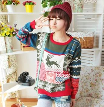 бесплатно shipping2013colorful o- шея женщин мода оленей и снеёинка связанный женщина свитер, мульти- цвет пуловеры