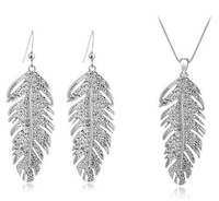 Fashion austria  crystal Christmas holiday sale 18k Gold Plated Feather Design rhinestone Jewelry Sets Y582-29