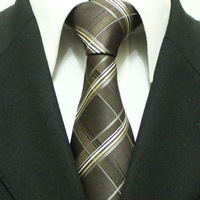 Discount Fashion Men`s Formal Brown Check Striped Brand Neckties For Men Wedding Business Grid Ties For Man 9CM L9-2