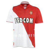 new 2013/14 Monaco home red/white soccer football jersey, top thai quality Monaco soccer uniforms embroidery logo free shipping