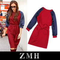 Promotion! Free Shipping 2013 Fashion Autumn Winter Women Dress Victoria Beckham , Red Blue Knee Length  Long Sleeve Dress