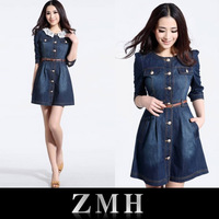 Brand Newest Vintage Fashion Women's Denim Dress,Popular Lace Neck Ladies' jeans casual Dresses plus sizes,Free shipping