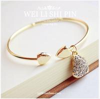 E037 beans gold accessories women's brief full rhinestone heart cutout carved bracelet charm bracelets