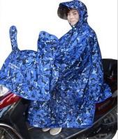 Double layer legs raincoat motorcycle poncho electric bicycle plus size helmet hat brim