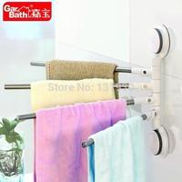 Free shipping sucker towel rack stainless steel bath towel rack 4 pieces towel rod bath accessories GB265004