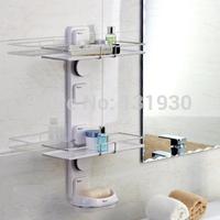 Free shipping suction bathroom shelf double layer with soap box disassemble shelf storage shelf GB264004