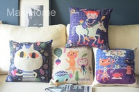 "Free Shipping 4 pcs/lot 18"" Fairy Tale World  Retro Vintage Linen Decorative Pillow Case Pillow Cover Cushion Cover Set"