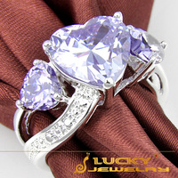 SALES Genuine  Jewelry Gifts For Woman Classic Purple CZ Heart Rings For Women 925 Sterling Silver Plated Jewelry R0207