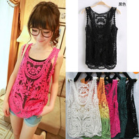 Free Shipping 2013 New Women Embroidery Floral Lace Crochet Chiffon Top Blouse Hook Flower Lace Vest Blouse