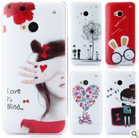 Fashion Coloured Drawing Hard Case Cover For HTC One M7 with Free Screen Protector