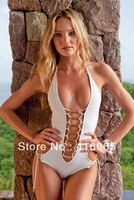 2014 New Arrival difficult Process complex Gold Ornament Fashion Sexy Element One Piece Swimwear Monokini  White Bathing Suit