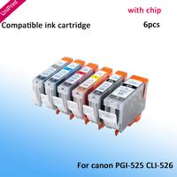 6x INK CARTRIDGE for CANON PGI525 CLI-526BK 526C 526M 526Y 526GREY for CANON PIXMA MG6100 MG6150 MG6250 MG6150 MG8150 PRINTER