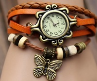 2014 New Arrivals Butterfly pendant bracelet watches 100% GENUINE Leather Hand Knit Vintage watches girl's Watch