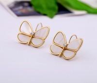 BigBing 2013 Fashion  jewelry natural shell exquisite butterfly women's earrings free shipping earrings