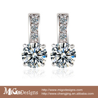 Migodesigns Popular Wedding Jewelry 18K White Gold Plated AAA Zirconia Fashion Earrings