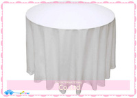 10pcs/lot White 100% Polyester 108'' Round Tablecloth For Wedding