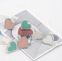 Accessories gentlewomen glaze love heart stud Earring hot-selling