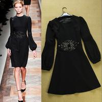 2014 Spring Autumn  Winter Fashion Vintage Elegant Black Embroidery Dress Women