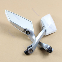 Free Shipping White Universal Diamond Motorcycle Motor Rearview Rear View Side Mirror 8mm 10mm