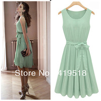 2013 Summer Women's Commuter Slim Solid Color Sleeveless Vest lace Chiffon Knee-Length Dress Pleated Skirt
