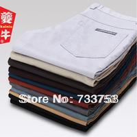 Designer brand thin men casual pants slim trousers male 100% cotton straight trousers men's multicolor Slim pant cheap B001
