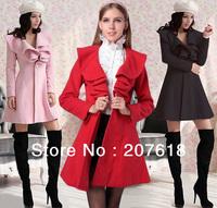 Lovely Girls Ruffled Collar Long Wool Coat Outwear Lady Elegant Autumn Winter Woolen Overcoat Topcoat