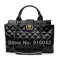 2013 Senatsu Brand Design Fashion Street Snap Retro Celebrity Tote Plaid Diamond Leather Superstar Favorite Ladies Handbag Black
