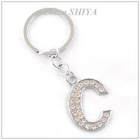 Chaveiro Llaveros Long Lasting Style Initial Alphabet Letter C Chain(12 Pcs/lot)rhinestone A-z Car Keychain Charm Chain Gift