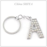 Long lasting style crystal initial alphabet letter (A-Z) Keychain/Keyring bag handbag charm for Key wholesale/retail  Gift