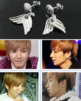 Super junior sj material pure silver double angel wings earrings
