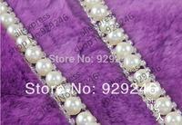 free shipping 1yard 1.5cm big ABS pearl clear rhinestone applique chain trims DIY wedding dress collar costume sewing decoration