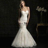 Elegant Bridal Strapless Sweetheart Neck Mermaid Wedding Dress,Slim Full Lace Court Train Zipper Wedding Gown, Free Shipping