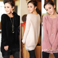 2013 fall and winter clothes women lace mohair sweater coat and long sections loose low round neck sweater free shipping