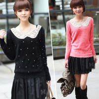 Free shipping 2013 winter new Korean version of sweet princess doll collar sweater bottoming ladies loose sweater coat