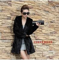 2013 fox fur coat medium-long faux fight mink women's hooded outerwear