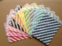 2 Pack 50 PCS Monochrome Twill Striped West Point Snack Popcorn Fries Hamburger Fried Chicken Food Oil Paper Bags
