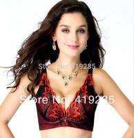 2014 Hot Sale High Quality Red Phoenix Embroidery Diamond Deep-V Bras Push Up 3/4 Cup Women Underwear Bra Free Shipping