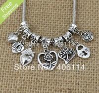 "140 Tibetan Silver Heart Dangles ""Love"" Beads Fit European Charm Bracelet DIY"
