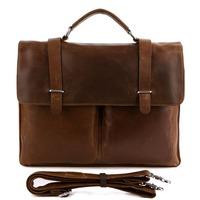 Vintage Genuine real leather  Men buiness handbag  laptop briefcase  shoulder Travel bag  / man  messenger  bag  JMD7100b1-308