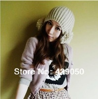 Free shipping Winter lovely double ball wool hat knitted hat Korean Korean female tide cap