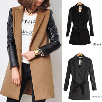 New Europe And America Leather Sleeves Stitching Long Sections Suit Collar Cashmere Coat With Belt WF-49413