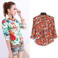 New Sale Fashion Retro Floral Print Cultivating Cotton Half Sleeve Blouse WF-48595